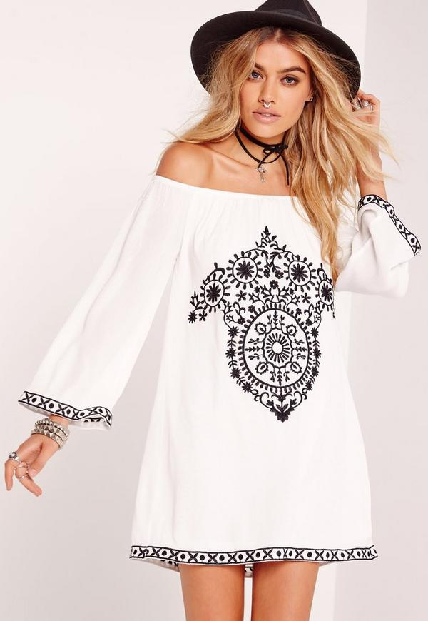 Cheesecloth Embroidered Bardot Dress White