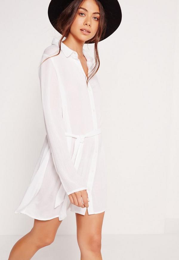 Cheesecloth Shirt Dress White