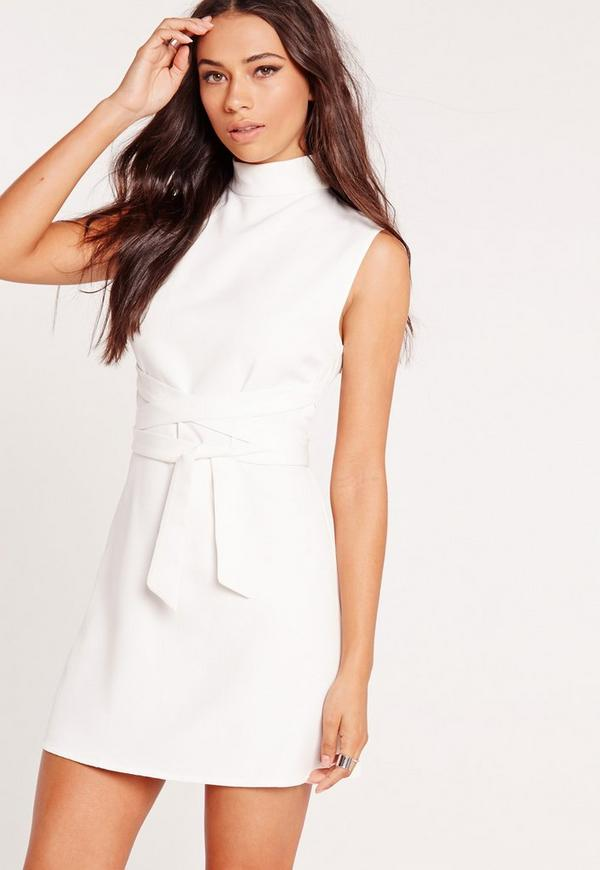 High Neck Tie Waist Shift Dress White