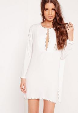 Studded Shift Dress White
