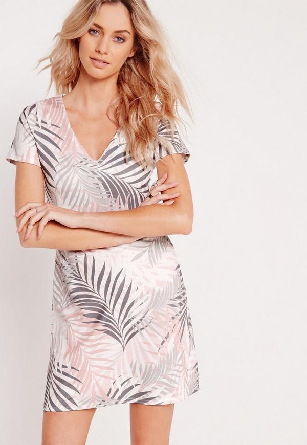 V-Neck A-Line Shift Dress Fern Print