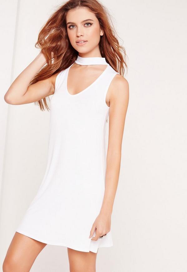 Choker Neck Jersey Shift Dress White