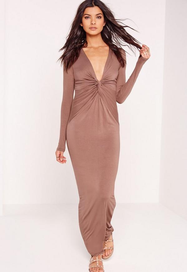 Twist Front Maxi Dress Brown