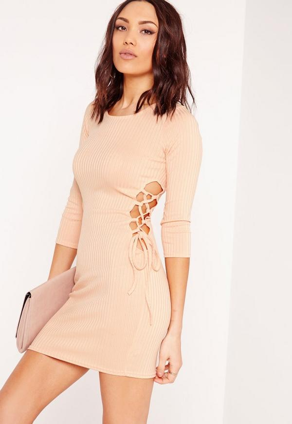 Side Lace Up Ribbed Dress Nude