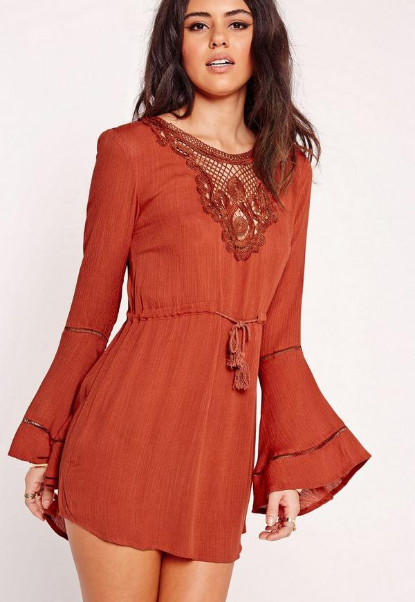 Cheesecloth Lace Dress Rust