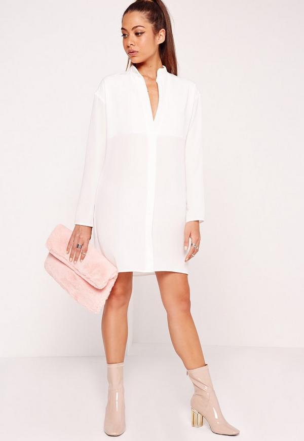 Half Placket Shirt Dress White