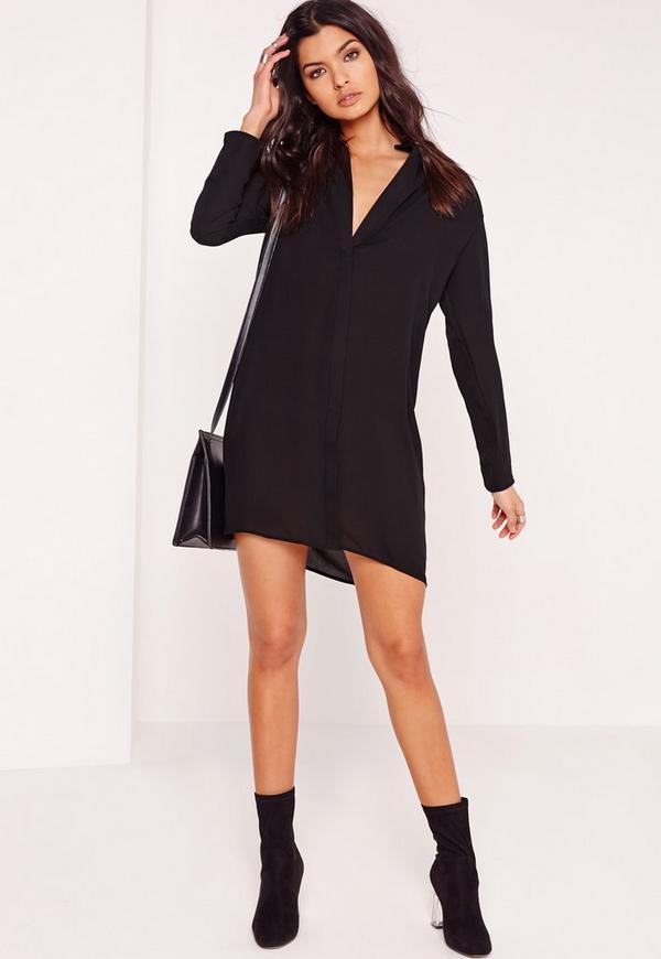 Half Placket Shirt Dress Black