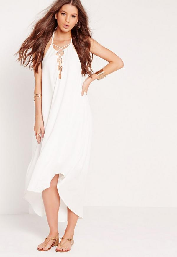 Tie Up Front Maxi Dress White