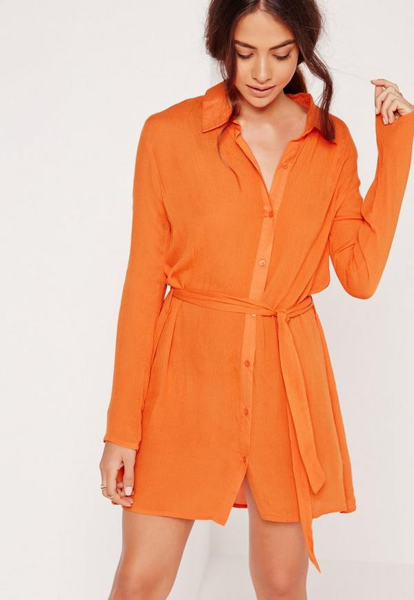 Cheesecloth Shirt Dress Orange