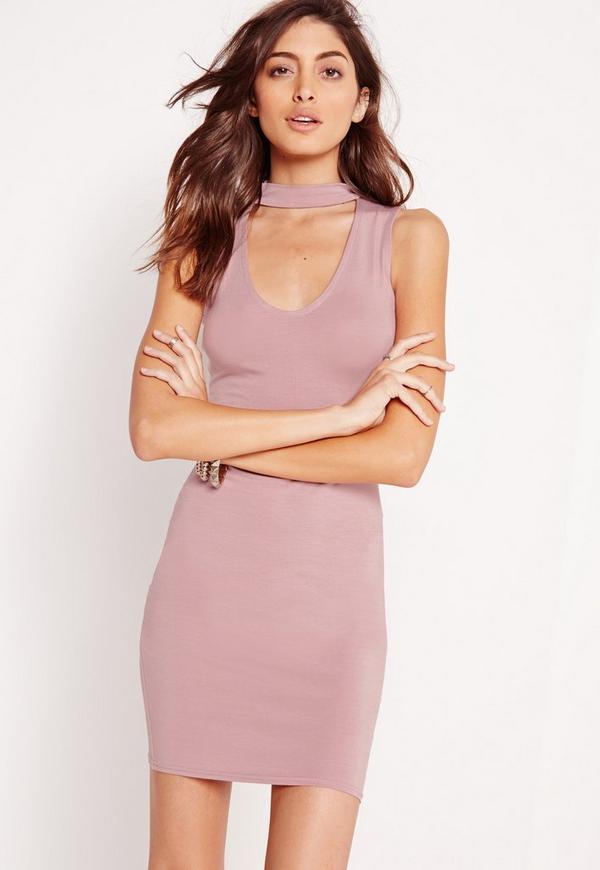 Choker Neck Jersey Bodycon Dress Lilac