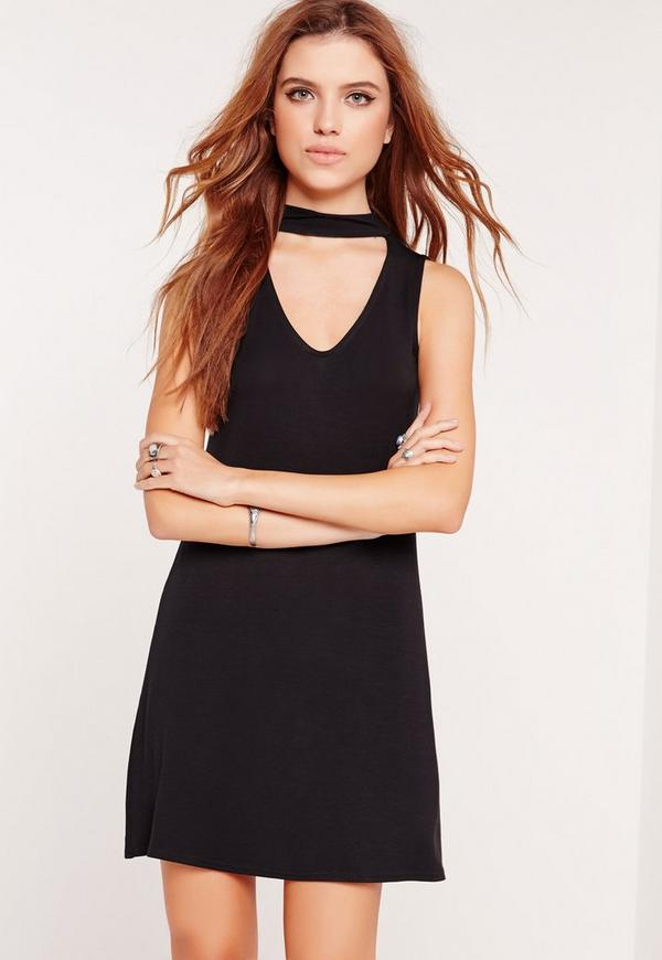 Choker Neck Jersey Shift Dress Black