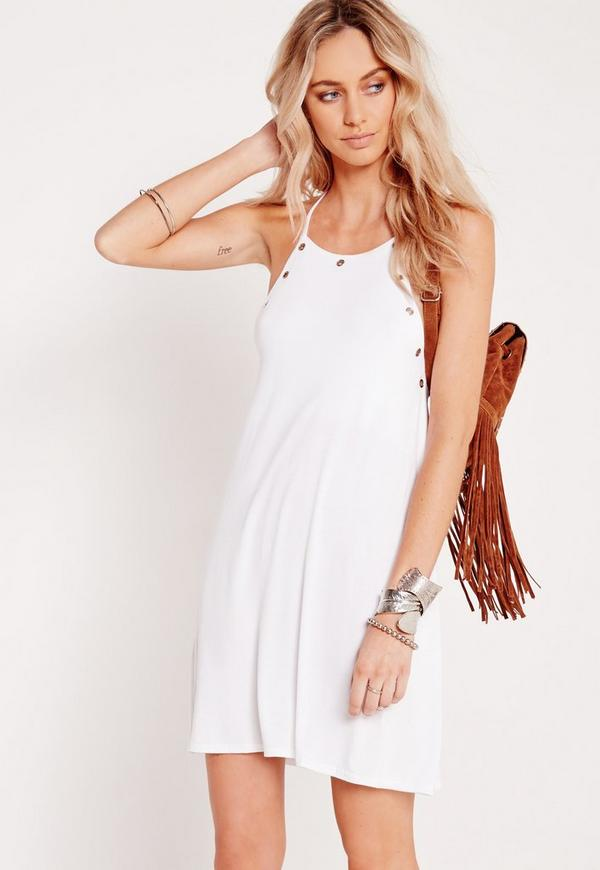 Eyelet Detail Swing Dress White