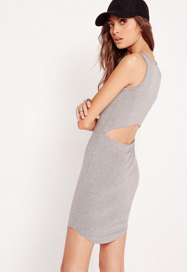 Cut Out Back Jersey Midi Dress Grey