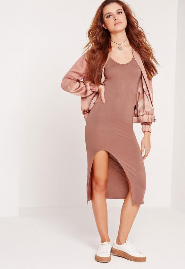 Cut Out Thigh Midi Dress Nude