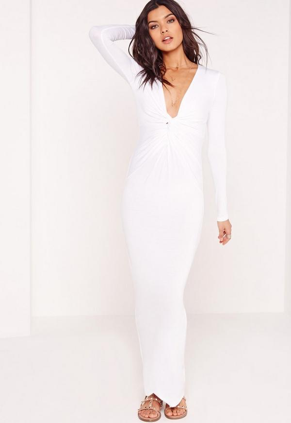 Twist Front Maxi Dress White