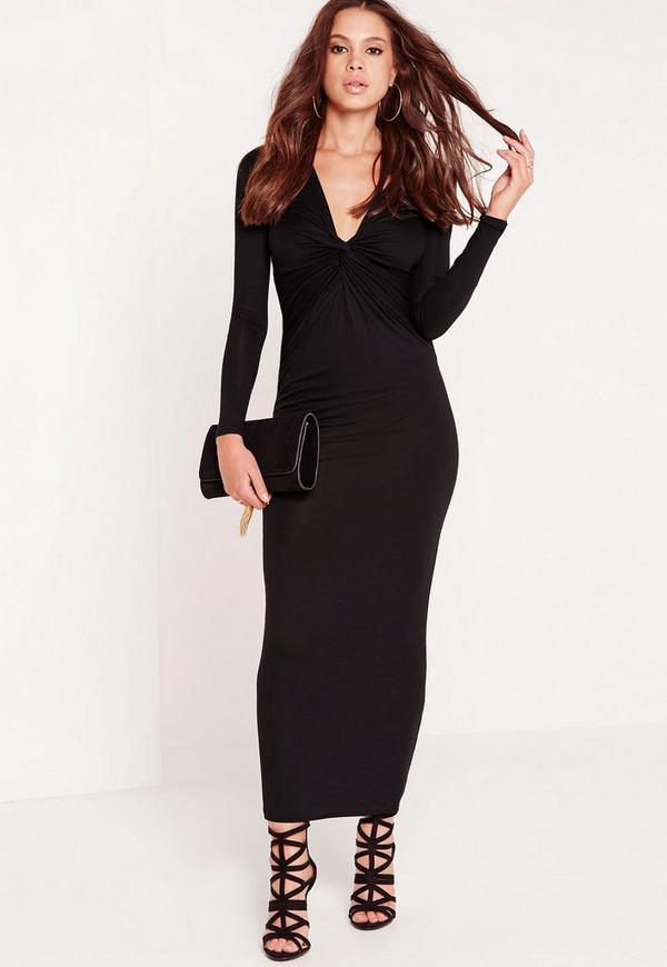 Twist Front Maxi Dress Black