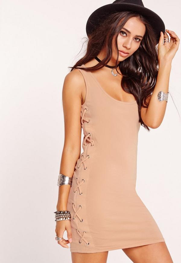 Tie Side Sleeveless Mini Dress Nude