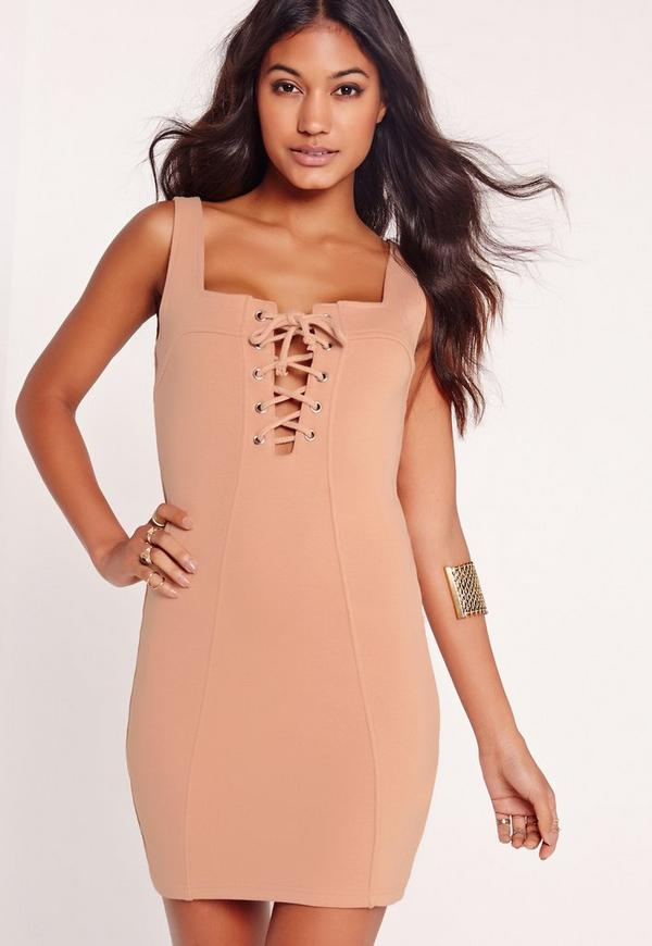 Lace Up Front Mini Bodycon Dress Nude