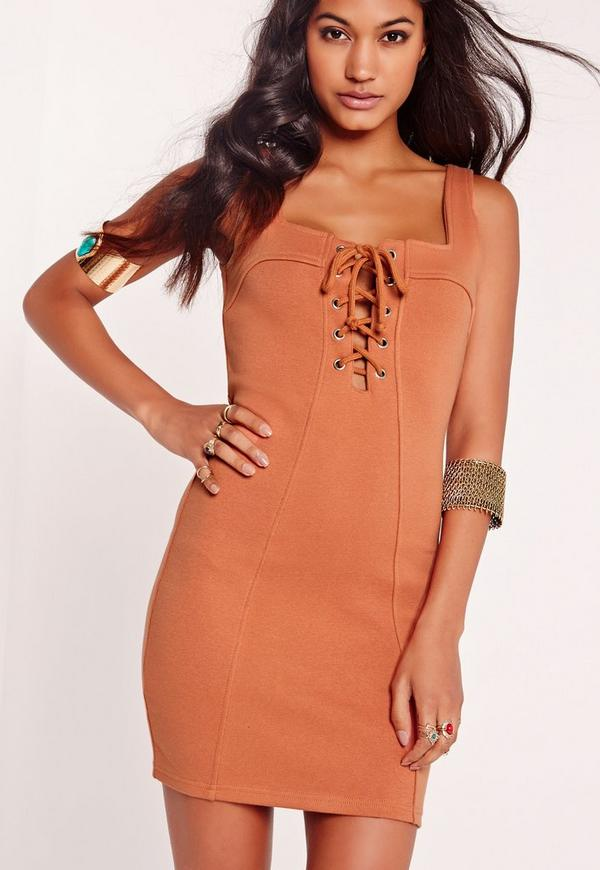 Lace Up Front Mini Bodycon Dress Tan