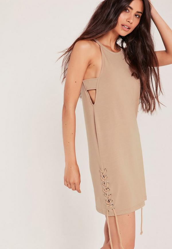 Tab Side Bottom Tie Up Dress Nude