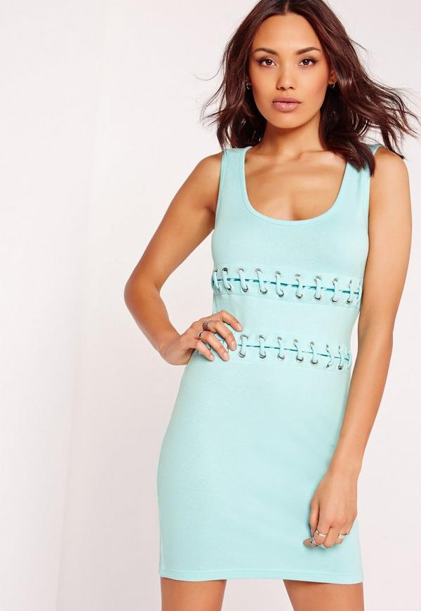 Tie Up Middle Mini Dress Mint Green