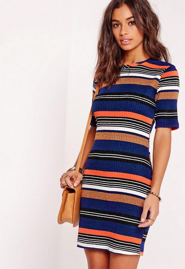 Multi Stripe Ribbed Dress