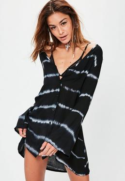 Tie Dye Button Down Shirt Dress Black