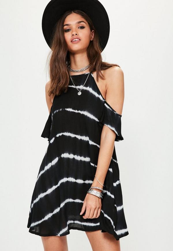 Black Tie Dye Frill Arms Cold Shoulder Dress