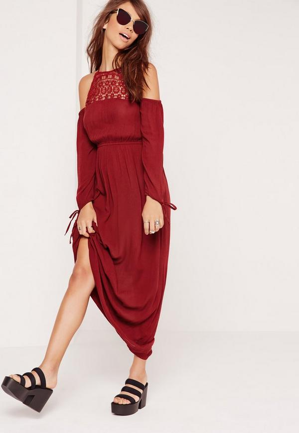 Cheesecloth Cold Shoulder Embroidered Maxi Dress Red