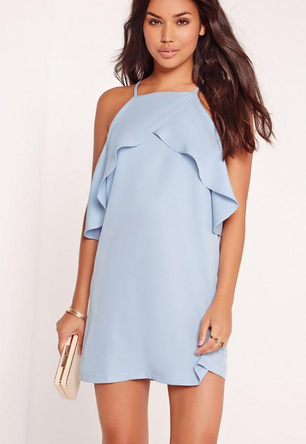 Frill Front Cami Dress Powder Blue