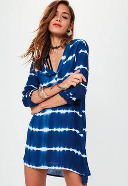 Robe-chemise bleue tie-dye