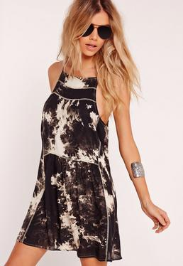 Tie Dye Skater Dress Black