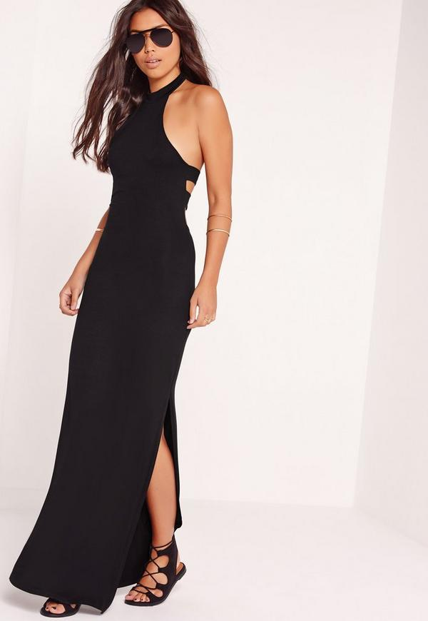 Halter Neck Cut Out Back Maxi Dress Black