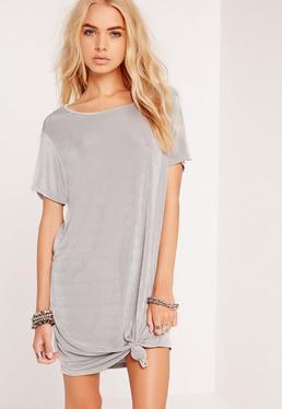 Slinky Knot Front Dress Grey