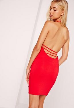 Halter Neck Tie Back Bodycon Dress Red