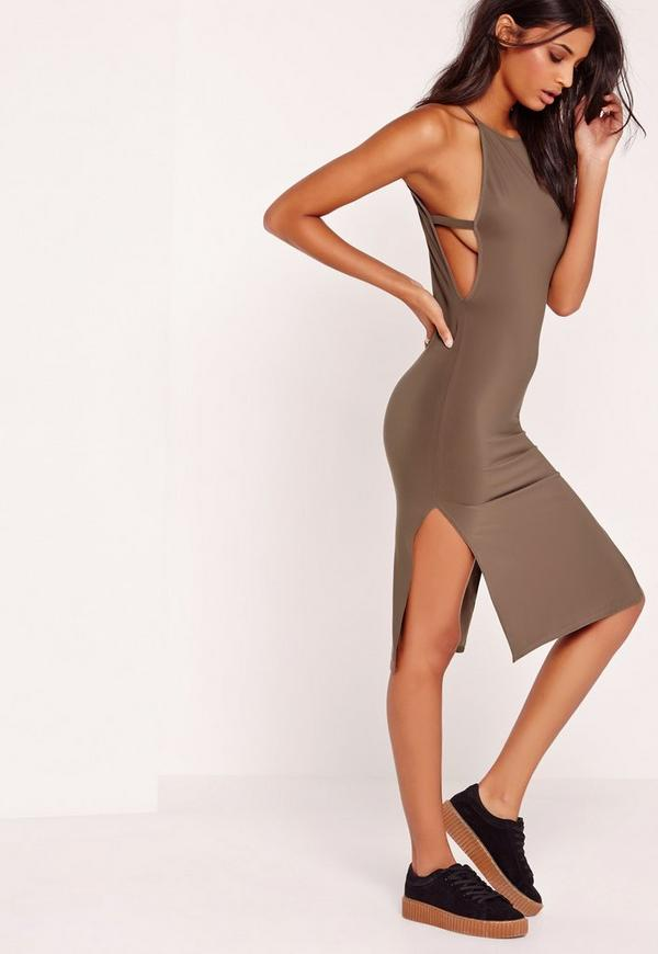High Neck Side Tab Midi Dress Brown