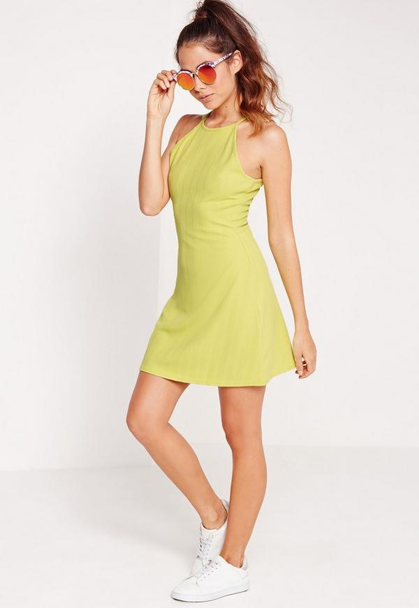 Bandage 90's Neck Skater Dress Green