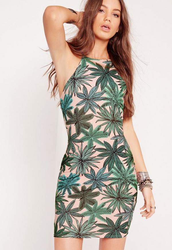 Palm Print Cross Back Bodycon Dress Multi