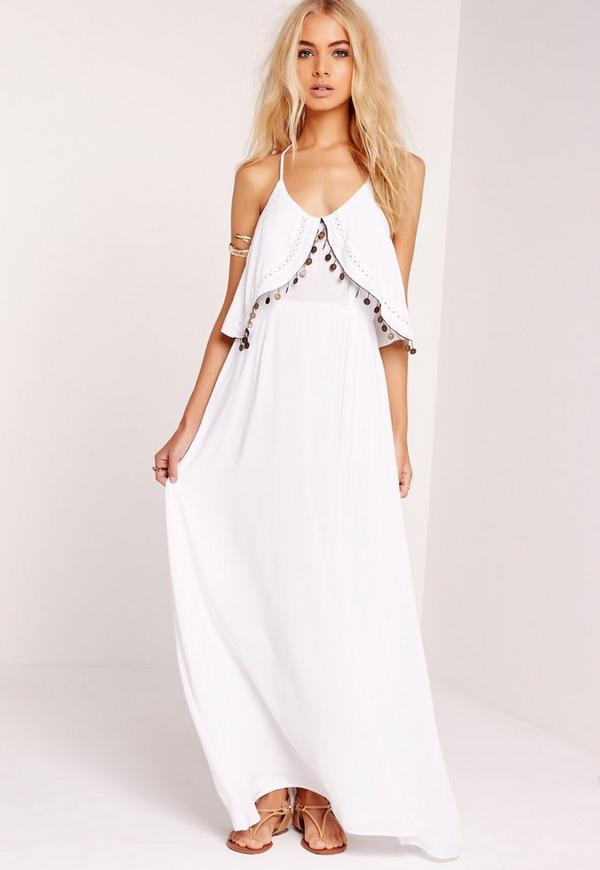 Strappy Maxi Coin Dress White