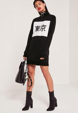 Robe-sweat noire imprimé Tokyo