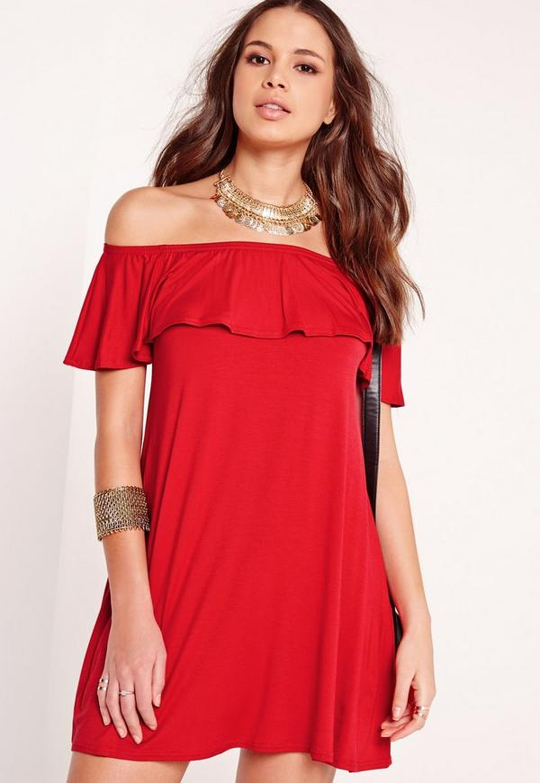 Bardot Frill Jersey Dress Red