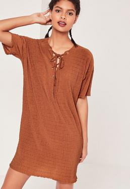 Eyelet Tie Up Front Dress