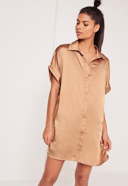 Satin Short Sleeve Shirt Dress Nude