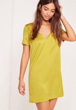 V Neck T-Shirt Dress Chartreuse Green