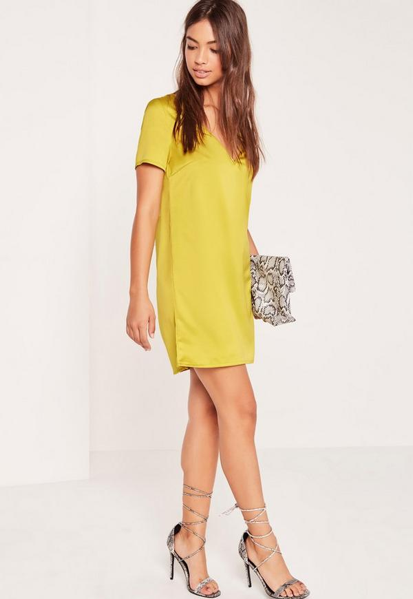 V neck t shirt dress chartreuse green missguided for Bright green t shirt dress