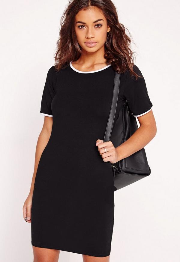 Contrast Rib T-Shirt Dress Black
