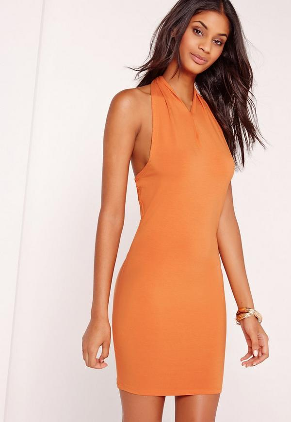 Scarf Neck Curve Hem Bodycon Dress Orange