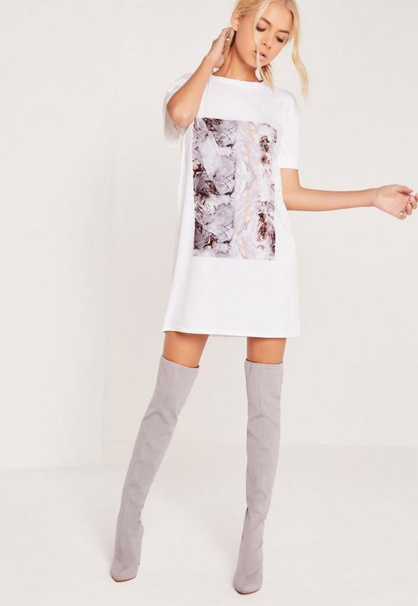Marble T-Shirt Dress White - Missguided