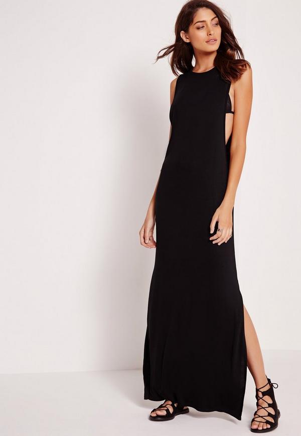 Extreme Drop Arm Hole Maxi Dress Black