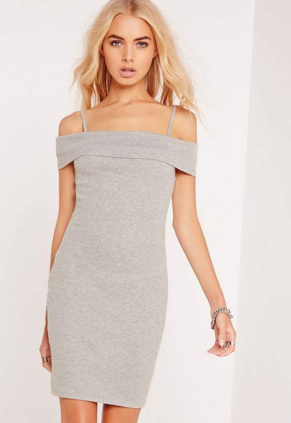 Ribbed Strappy Cold Shoulder Dress Grey
